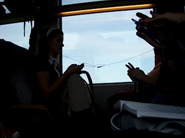 Teenagers on a train