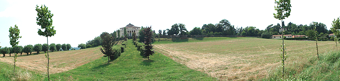 Panoramic photograph of Italian villa in its setting