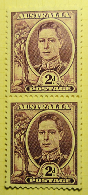 Two stamps, George VI, 2d each, Australia