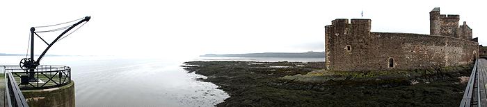 jetty, water, shore, castle