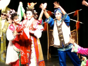 Actors on stage in Chinese costume