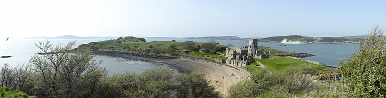 View of an island with a ruined monastery