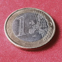 Oblique view of Euro coin