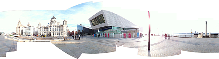 Panorama of buildings and paved surfaces