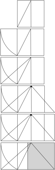 line drawings of derivation of two squares from one via the golden section