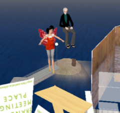 A fairy and a man suspended above planks floating above water