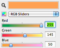 Colour selector slide bars