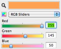 Colour selector slide bars