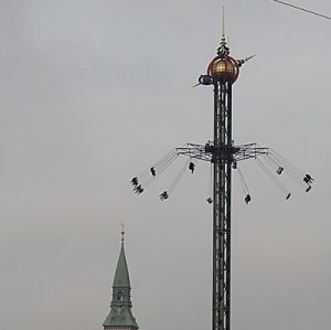 Joyriders on suspended chairs swinging at abut 70 metres above ground