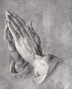 Durer's pen and ink drawing. Two hands as if in prayer.