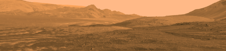 Panorama of rocky landscape, touched up to look red