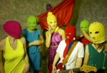 Pussy Riot band members with face masks