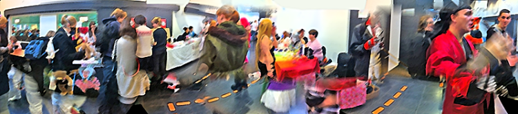 Panorama of teenagers. Some in costume, faces occluded.