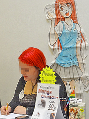 Young woman at a table drawing. There's a sign saying -- Yourself as a Manga character, only 60Kr. In the background is a drawing of a female manga character.