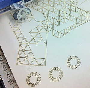 Grid structure and circles traced onto a flat sheet