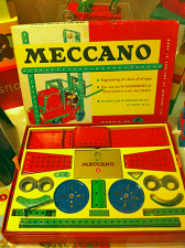 Meccano box: open with contents visible