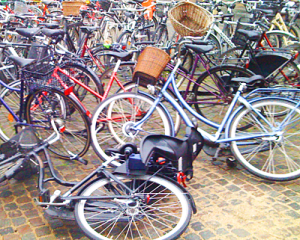 Bikes on a cobbled street