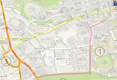 Edinburgh map showing route as a red line moving from Chambers Street to the Meadows Walk, path on the edge of the Meadows, and then to Lothian Road