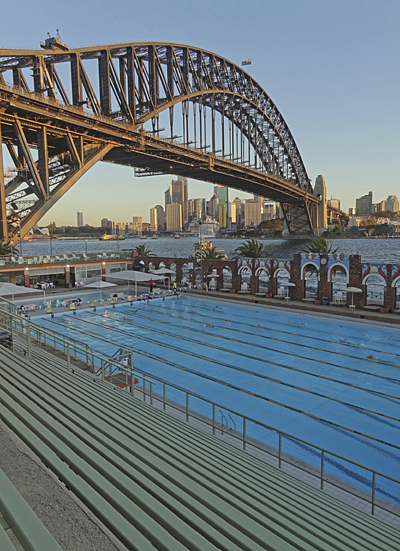 Open air pool with lanes; Harbour Bridge and city skyline for the backdrop