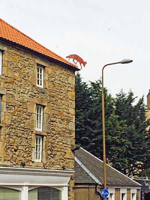Fox ornament on roof ridge, Cannon Mills, Edinburgh