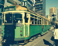 Faded image of a tram